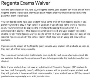 Regents Waiver