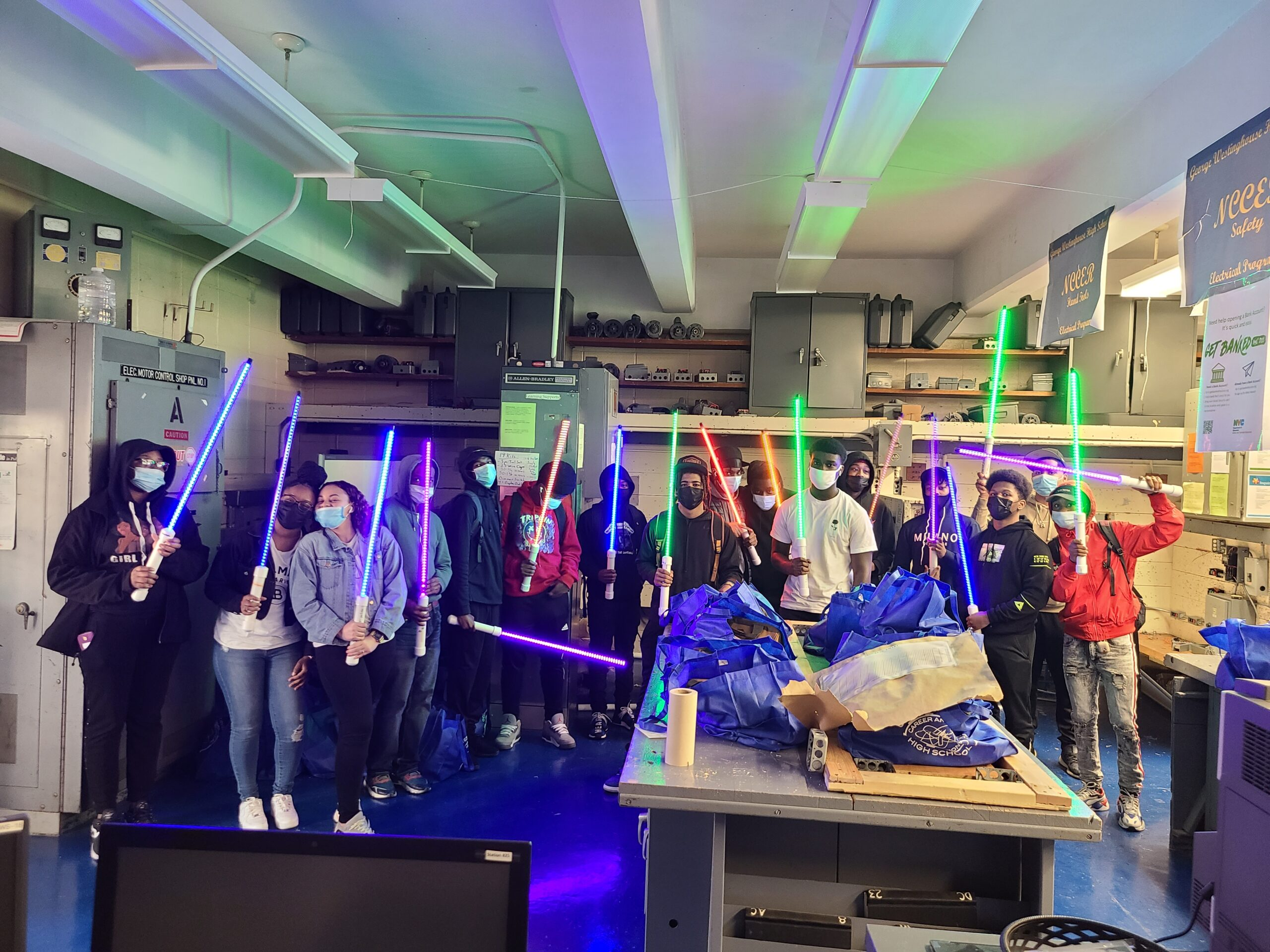 Electrical Students with light sabers